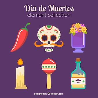 Kolekcja elementów Día de los muertos