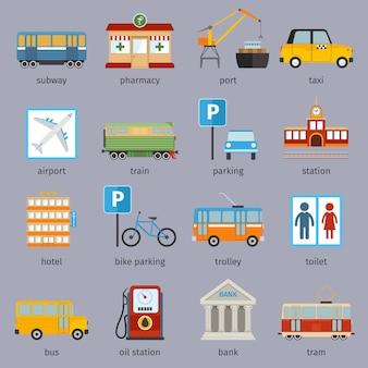 Kolekcja elementów miejskich