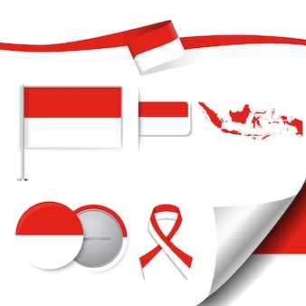 Kolekcja elementów reprezentatywnych Indonezji