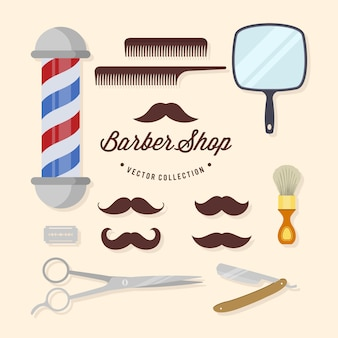 Kolekcja elementów sklepu fryzjerskiego
