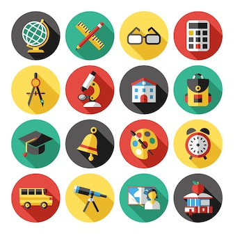 Kolekcja elementów szkolnych