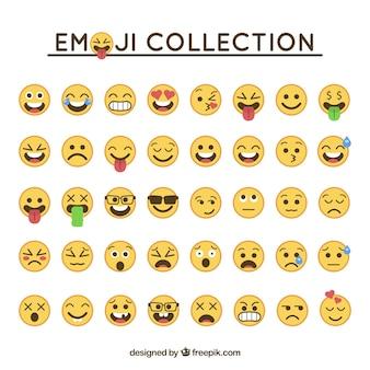 Kolekcja emotikon w płaskiej konstrukcji