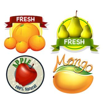 Kolekcja etykiet z owocami