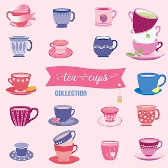 Kolekcja filiżanek herbaty