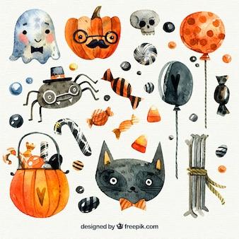 Kolekcja halloween akwarelowy elementów