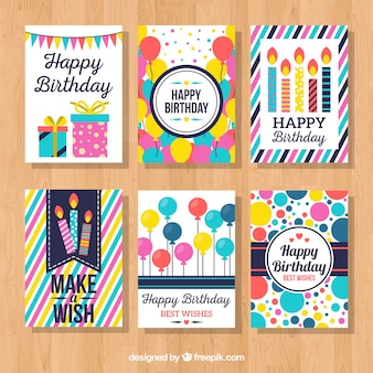 Kolekcja kolorowe kartki urodzinowe