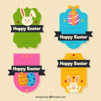 Kolekcja kolorowych naklejek na dzień Wielkanocy