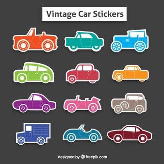 Kolekcja kolorowych naklejek samochodowych retro