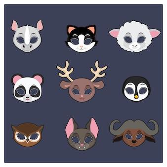 Kolekcja masek na zwierzętach