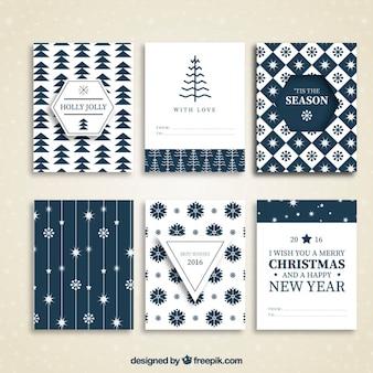 Kolekcja niebieski kartki świąteczne