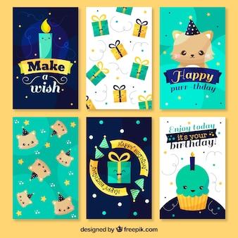 Kolekcja niebieskich kartek urodzinowych