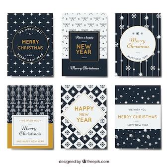 Kolekcja Nowy Rok i kartki świąteczne w stylu retro