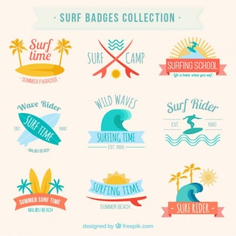 Kolekcja odznak surfingowe