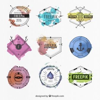 Kolekcja odznaki akwarela