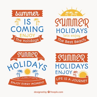 Kolekcja płaskich etykiet lato z niebieskimi detalami