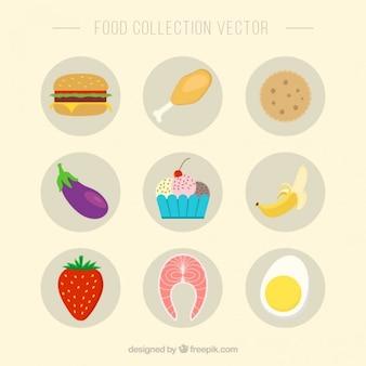 Kolekcja płaskich spożywczych