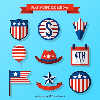 Kolekcja płaskiej amerykański element dzień niepodległości