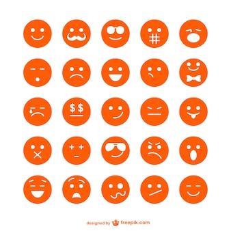 Kolekcja pomarańczowe emotikony