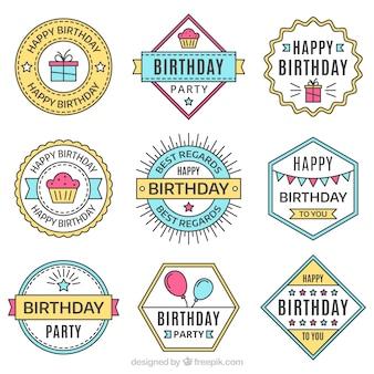 Kolekcja ręcznie narysowanych naklejek urodzinowych