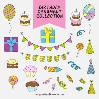 Kolekcja ręcznie narysowanych ozdób urodzinowych