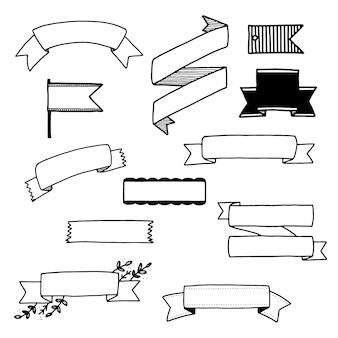 Kolekcja ręcznie rysowane wstążki