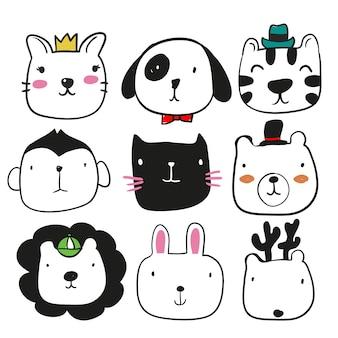Kolekcja ręcznie rysowane zwierzęta