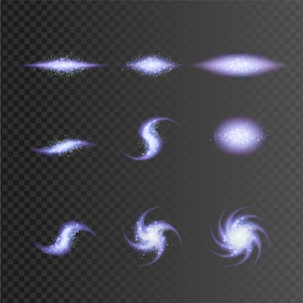 Kolekcja różnych kształtów galaktyk
