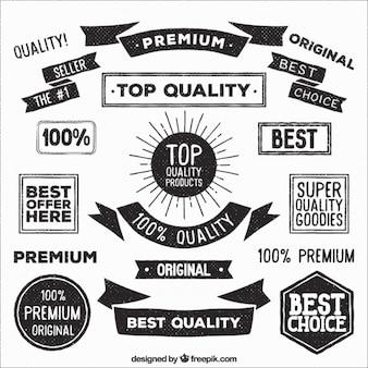 Kolekcja rocznika odznaki Premium Quality i wstążki