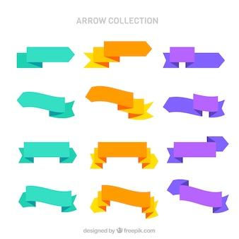 Kolekcja strzałek z kolorowych wstążek