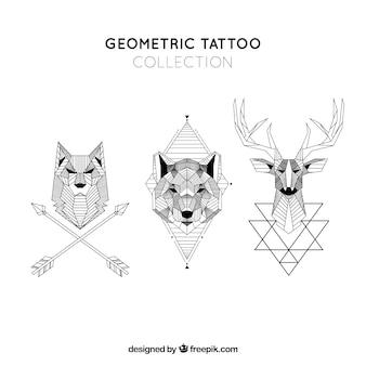 Kolekcja tatuaż kolekcji geometrycznej zwierząt