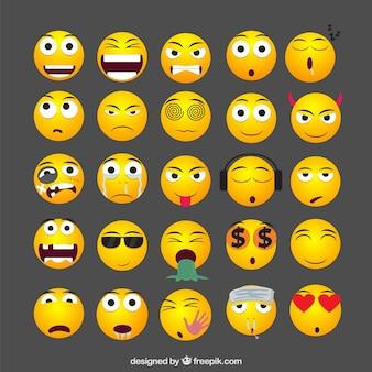 Kolekcja żółte emotikony