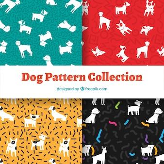 Kolekcja wzorów psów w czterech kolorach