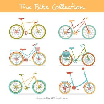 Kolekcja zabytkowych rowerów w płaskim stylu