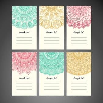 Kolorowa kolekcja kart mandali
