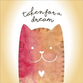 Kolorowa szczęśliwy kot wzór tła