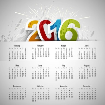 Kolorowe 2016 szablon kalendarza