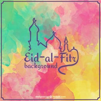 Kolorowe akwarela Id al-Fitr tle