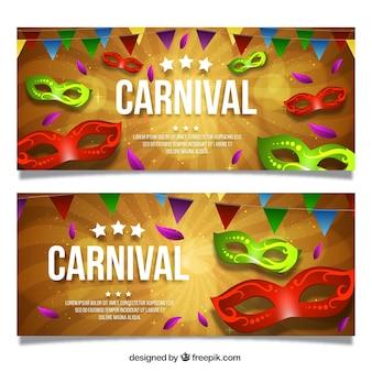 Kolorowe banery karnawałowe w stylu realistycznym