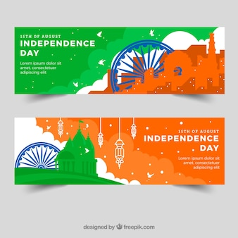 Kolorowe banery na indyjski dzień niezależności