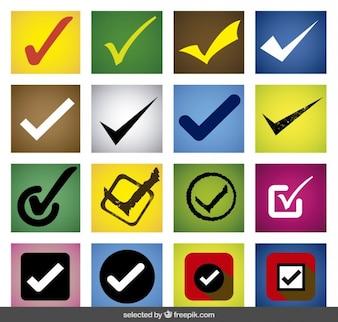 Kolorowe check mark zestaw