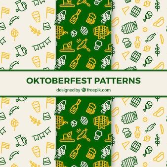Kolorowe i ręcznie narysowane wzory oktoberfest