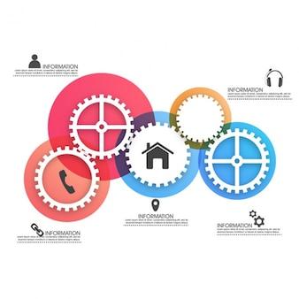 Kolorowe infografika z zębatką dla biznesu