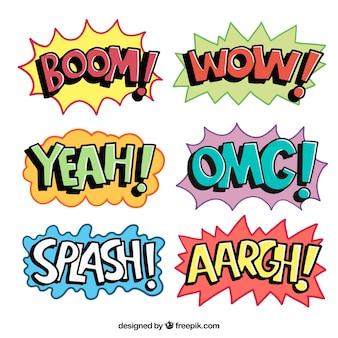 Kolorowe komiks pęcherzyków mowy