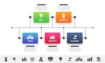 Kolorowe szablonu koncepcji biznesowych strzałki czas. Układ infografiki z 5 krokami i zestawem ikon.