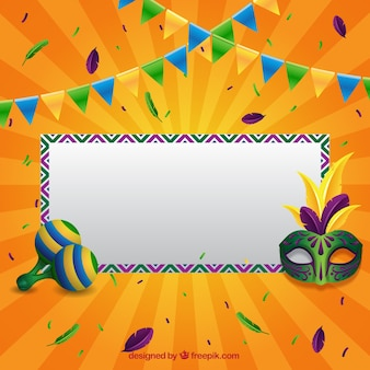Kolorowe tło z napisem i ozdoby dla brazylijskiego karnawału