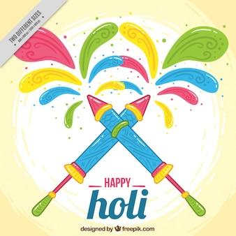 Kolorowe tło z pistoletów wodnych na festiwalu Holi