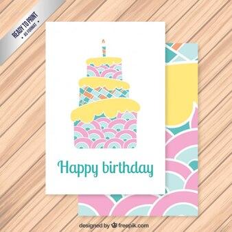 Kolorowe tort urodzinowy karty