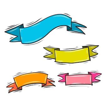 Kolorowe wektora wstążki doodle