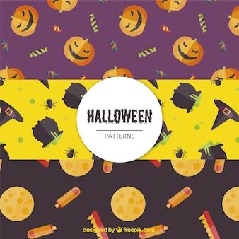 Kolorowe wzory w stylu płaskiej na halloween