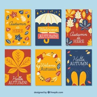 Kolorowe zestaw kart jesieni ?.